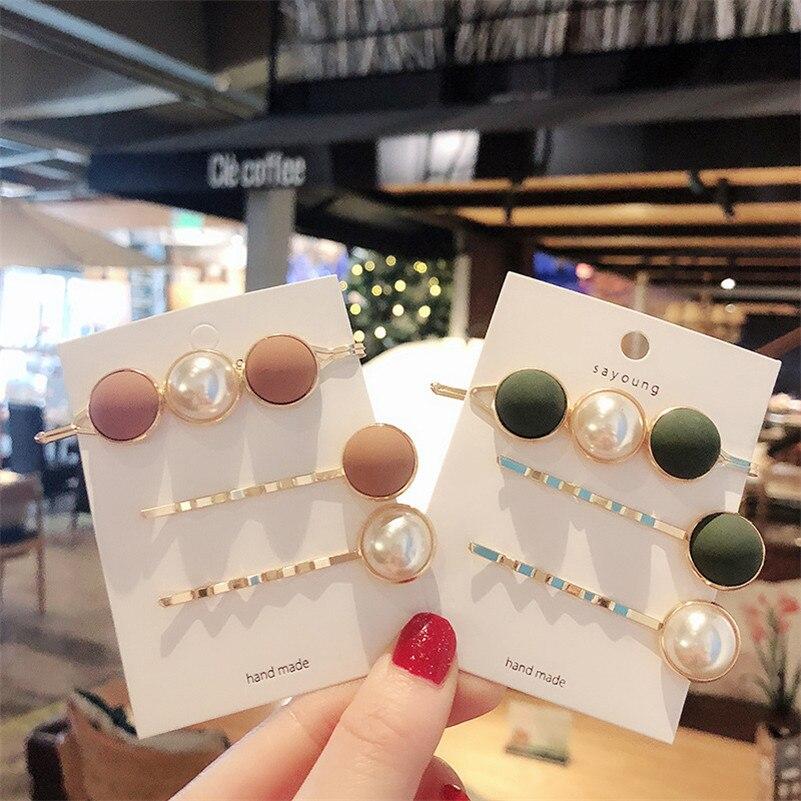 3PCS/SET Fashion Hair Accessories For Women Scrub Pearl Hair Clips Korean Cute Headwear Elegant Girls Hairpins Barrettes Set
