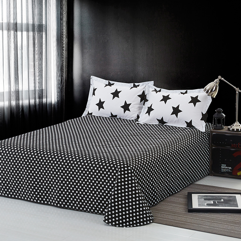 Solstice บ้านสิ่งทอสีดำสีขาวลายตารางผ้าฝ้าย 100% 4 Pcs ชุดผ้าปูที่นอนผ้านวมปลอกหมอนแบนเตียงผ้าลินิน-ใน ชุดเครื่องนอน จาก บ้านและสวน บน   3