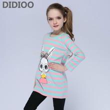 Kids T-Shirts For Girls Dresses Cartoon Bunny Girls T-Shirts Long Sleeve Striped Children Tops 4 5 7 9 11 12 Years Girls Tees
