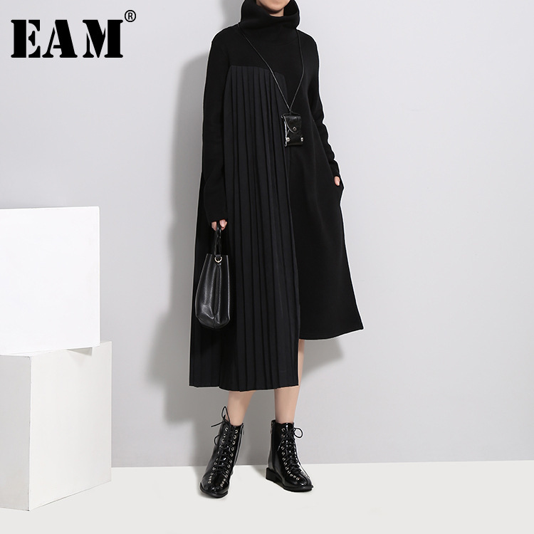 [EAM] 2018 New Autumn Winter High Collar Long Sleeve Solid Color Black Pleated Split Joint Irregular Loose Dress Women Fashion