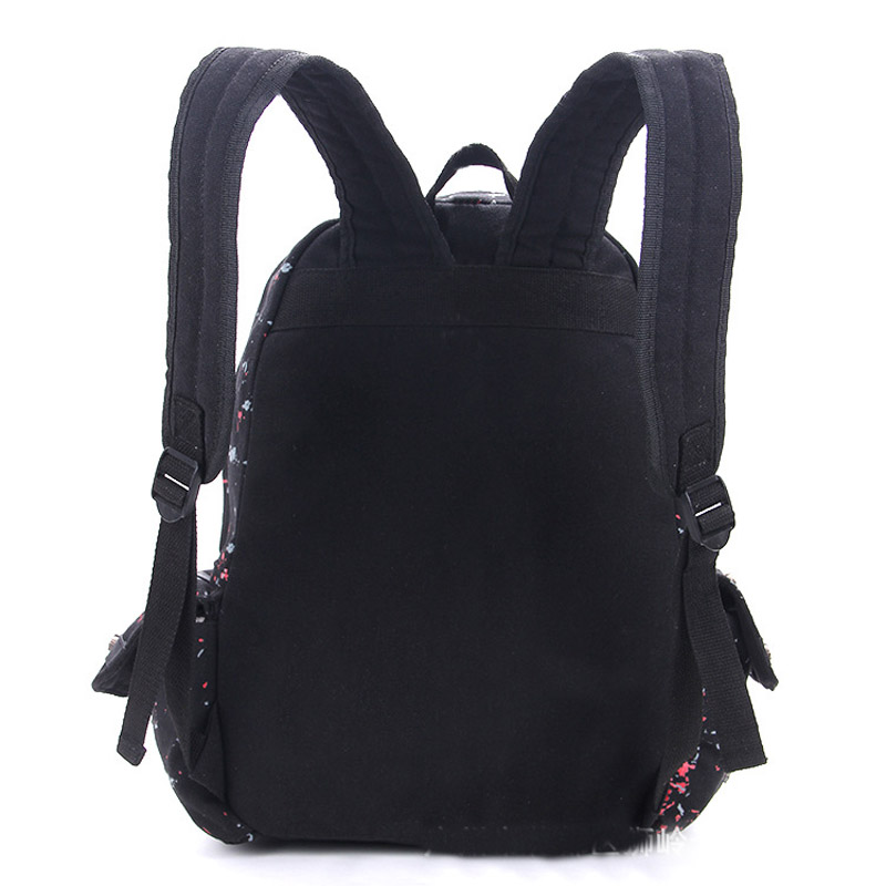 Men Women Unisex Sugar Flower Printed Skull Gothic Emo Punk Backpack Rucksack School Bag Pink Waterproof Mochila #3