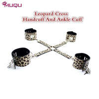 Leopard SM Cross Bondage Leather Metal Hand Cuff And Ankle Cuff Bdsm Bondage Sex Erotic Toys