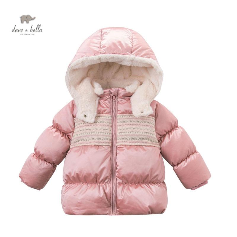 DB3978 dave bella baby girls pink white duck down coat