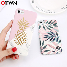 цена на Ottwn Hard PC Phone Case For iphoneX  Leaves Pineapple Cases Candy Color Geometry Flake Print Cover For iphone8 6 6s 7 7s Plus