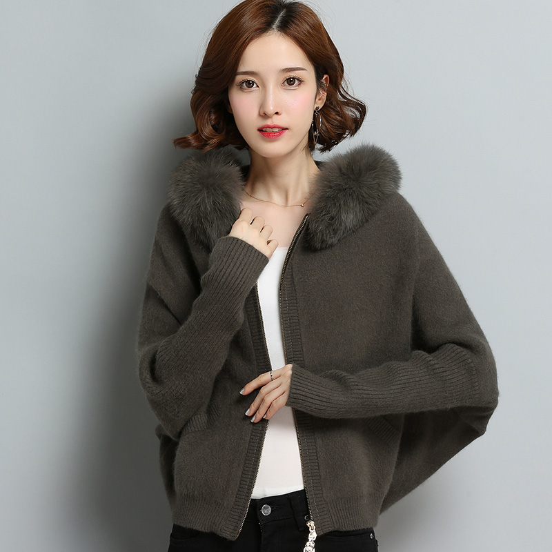 Casual Women Batwing Sleeve Hooded Cardigan 2019 Mink Cashmere Knit Sweater Jacket with fur Hoods Loose