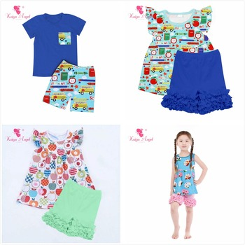 Kaiya Angel Toddler Girls Boys Summer Clothing Set Blue School Bus Stationery Top Royal Blue Cotton Shorts 4th Of July Outfit