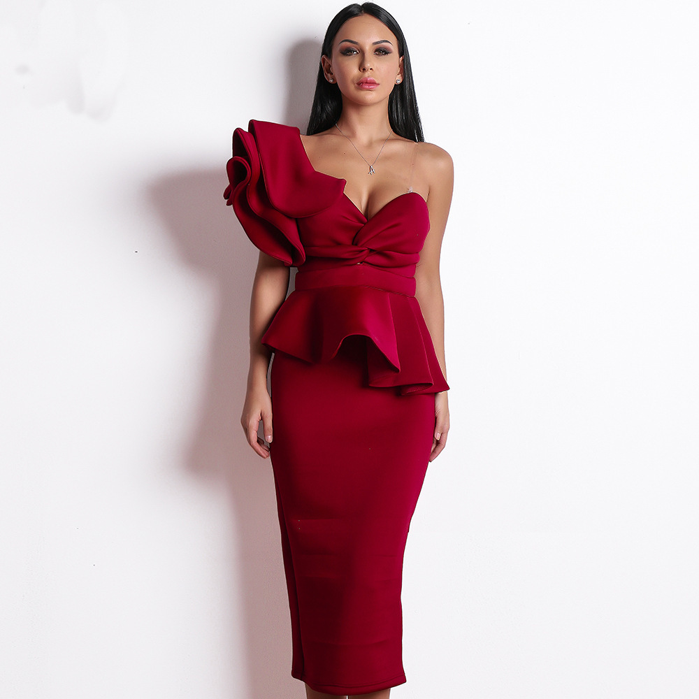 Vestido Noche Coctel 2019 Summer Generous Woman Sheath Cocktail Dress Lotus Leaf Hem Backless Skirt Of Pure Colors