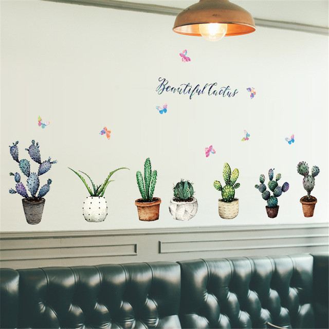 3D DIY Cactus Removable Wall Decal Family Stickers Mural Art Home Decor Wall Stickers For Kids Bedrooms Waterproof Wallpaper