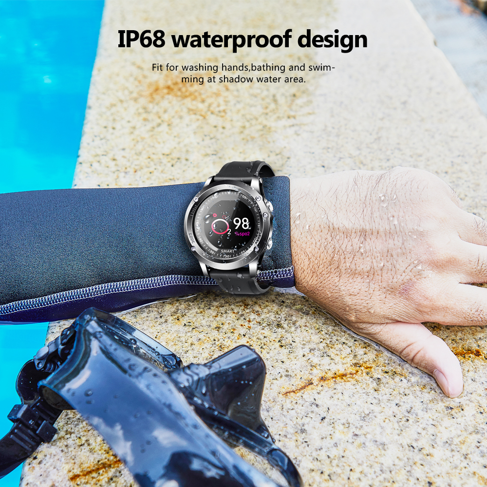 torntisc ip68 waterproof men's smart watch with t2 heart rate blood oxygen monitoring for outdoor sport