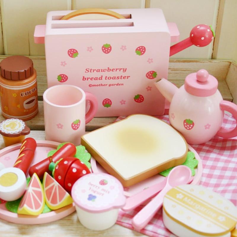 Bebê rosa mini móveis de madeira cozinha conjunto fingir jogar brinquedos de madeira simulação pão torradeira presente da namorada desktop decoração