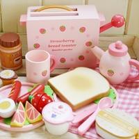 Baby Pink Mini Furniture Wood Kitchen Set Pretend Play Wooden Toys Simulation Bread Toaster Girlfriend Gift Desktop Decoration