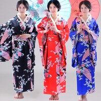 Peacock Kimono Simulation Silk Printing Satin Printing National Costume COS Performance Costume Stage Japanese Kimono Clothing
