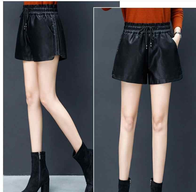 2019 krótki Mujer kobiet wysokiej talii szerokie nogi elastyczny pas Pu skórzane spodenki na co dzień S/3Xl czarna wiosna jesień skórzane krótkie K991