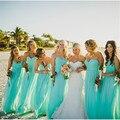 Vestido Madrinha De Casamento Lace Up Turquoise Bridesmaid Dress Long Chiffon Bridesmaid Dresses 2016 Vestido Para Madrinha