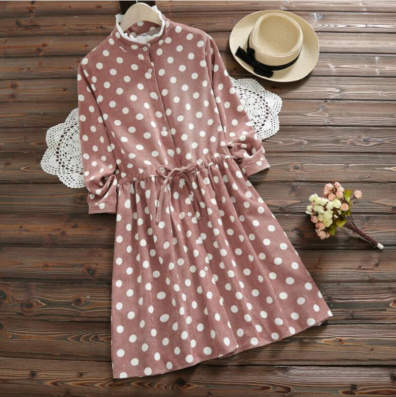 Mori Girl Sweet Polka Dot Pink Dress 2018 Hot Spring and Winter Cotton Clothes Women Lace-Up  Waist Corduroy Dresses AW617 girl