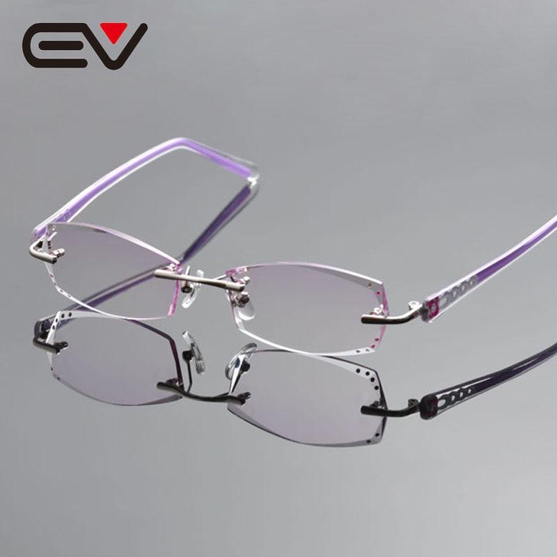 ⑦2016 mujeres elegantes anteojos sin montura de titanio plata ...