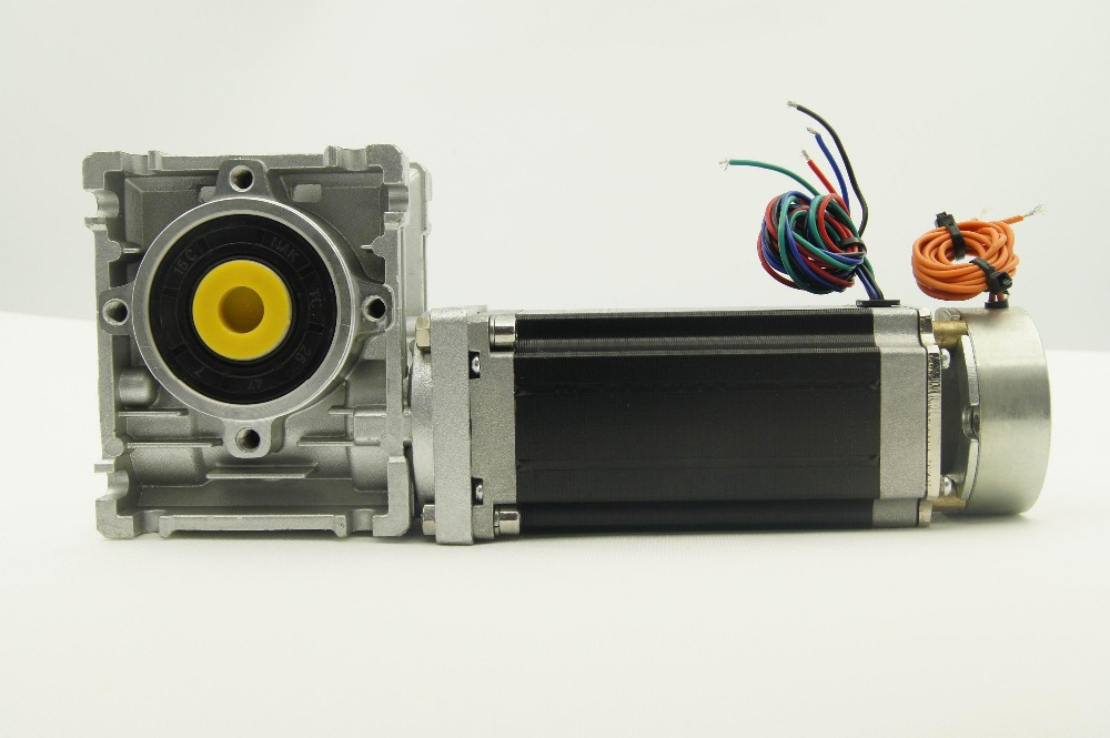 Nema23 Stepper Motor 3.0NM with brake and worm Gearbox ratio 5:1/7.5:1/10:1/20:1/25:1/30:1/40:1/50:1/60:1/80:1 and output shaft