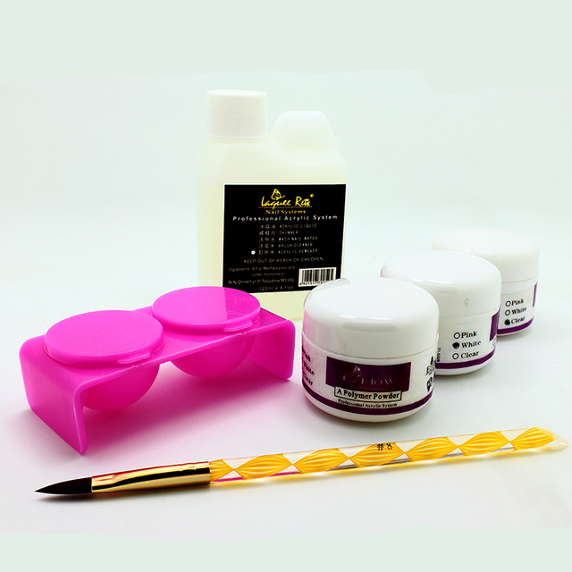 Nail Acrylic Liquid powder Kit Set 3pcs Nail Powder+1pcs Acrylic Liquid+1pcs Nail Pen+1pcs Nail Washing Tools