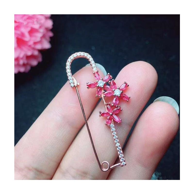 Trendy Naturale Rubino Spille Spilli per le Donne Del Partito regali di Anniversario di 5A Genuine gemstone fine Jewelry 925 Sterling Silver #337 - 4