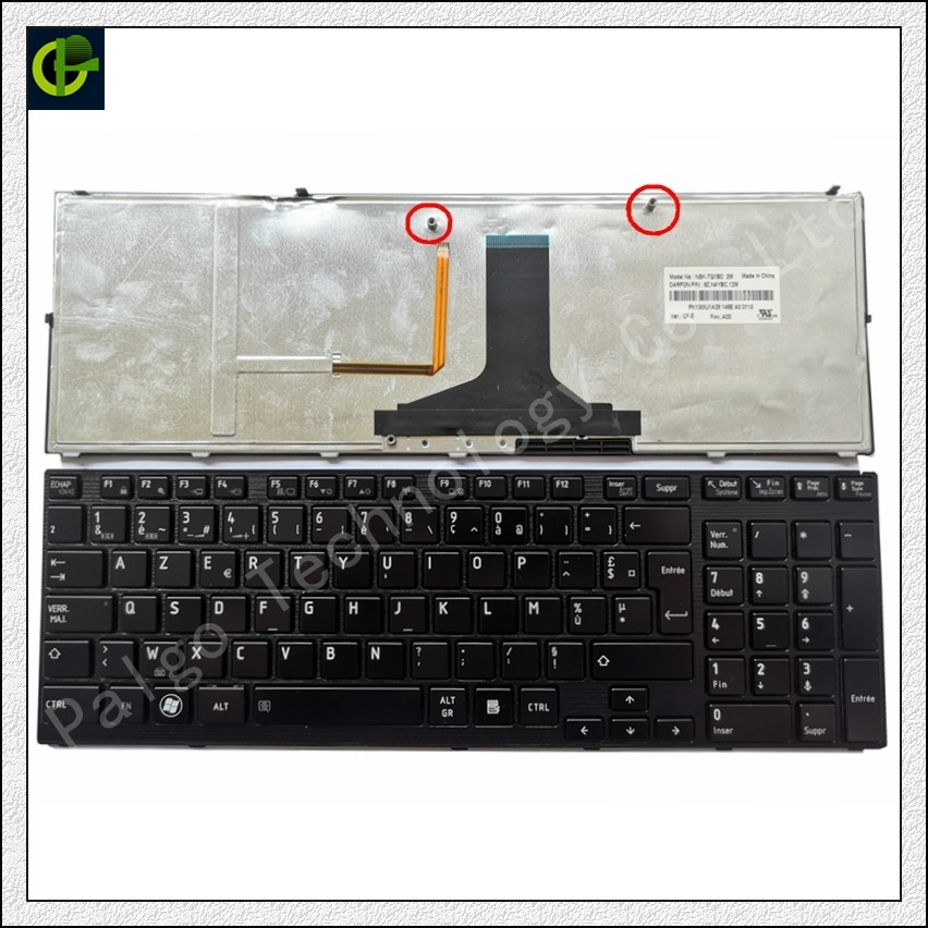 French Azerty Backlit Keyboard for <font><b>TOSHIBA</b></font> <font><b>Satellite</b></font> <font><b>P750</b></font> P750D P755 P770 P775 P75 A660 A600 A665 P770D Qosmio X770 X775 FR image