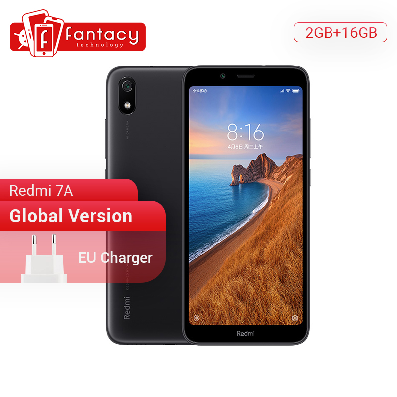 Version mondiale Xiaomi Redmi 7A 7 A 2GB 16GB 5.45 Snapdargon 439 Octa core téléphone portable 4000mAh batterie 12MP appareil photo