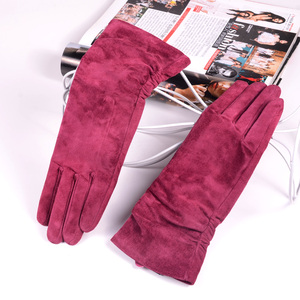 "Image 2 - 28cm 11"" Womens Ladies Genuine leather Suede Leather Middle long Folded gloves Party Evening gloves"
