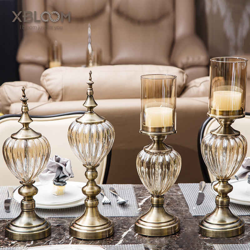 Neo-classical model room candle table decoration luxury wedding romantic love home