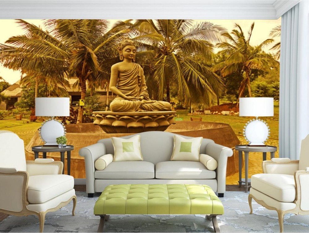 Buddha statue coconut trees Backdrop Large Murals 3D Mural Wallpaper Customize anywhere in the room