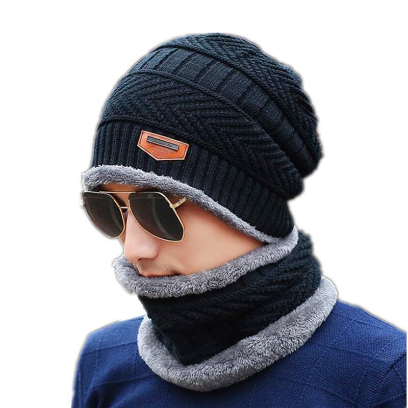 SUOGRY Neck warmer winter hat knit cap scarf cap Winter Hats For men knitted hat men Beanie Knit Hat Skullies Beanies 2