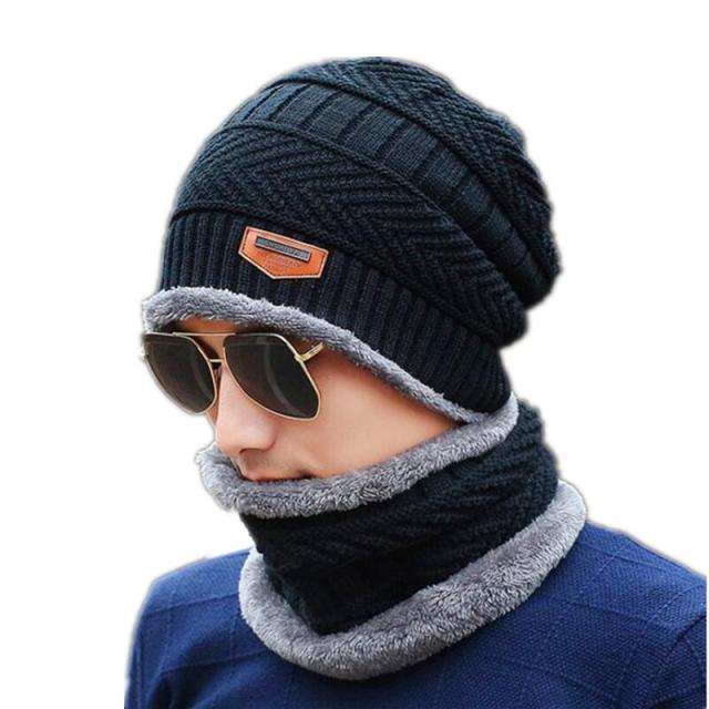 Neck warmer winter knit scarf Hats For men 2