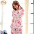 Nova Marca Flor Impresso Mulheres Pijama Longo-Manga 100% Algodão Sleepwear Pijama Feminino Doce Rendas Princesa Salão Set 1793