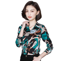 Women Summer Casual Long Sleeve V Neck Print BLue Chiffon Blouse Long Shirt 2xl 3xl Plus Size Women Tops Irregular Women Shirts