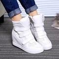 Del Bucle del gancho de Las Mujeres Zapatos Casuales Aumento de la Altura Mujeres Zapatos de Plataforma 2016 Cuñas de Moda de Cuero Zapatos de Las Señoras Botas Femmer YD32