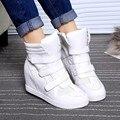 Loop de gancho Mulheres Altura Crescente Sapatos Casuais Mulheres Sapatos de Couro 2016 Moda Cunhas Plataforma Senhoras Sapatos Botas Femmer YD32