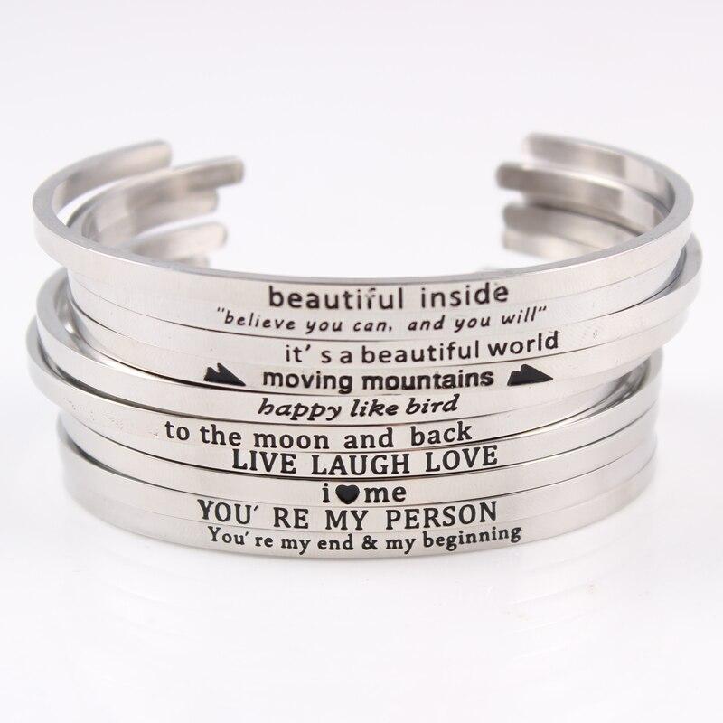 32a1f1df41d5c1 In acciaio inox messaggio cita inspirational braccialetti a fili multipli  braccialetti incisi positivo mantra bracciali fascia per le donne best  regali