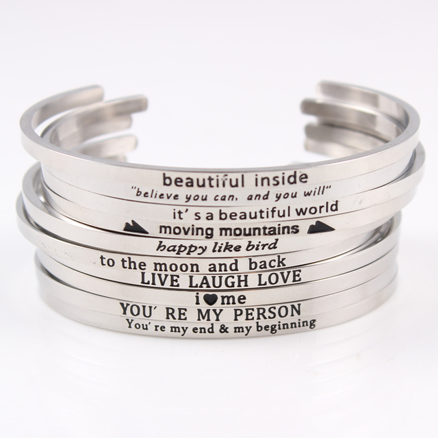 bb15ec17359 Stainless Steel Message Bangles Engraved Positive Inspirational Quote Cuff Bracelets  Mantra Band Bracelets For Women Best Gifts
