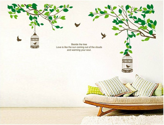 wall decal family art bedroom decor tree branch bird cage kids removable home decoration wall stickers family bathroom bedroom decor mirror painting