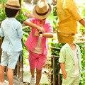 Roupas de bebê Menino Casaco de Manga Curta + Shorts 2 pcs Meninos Terno de Algodão Do Bebê Da Criança Crianças Traje de Verão 2017 das Crianças Conjunto de roupas