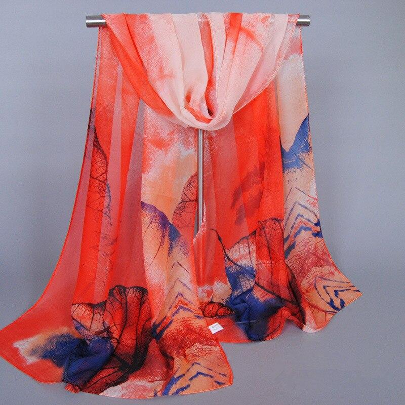 Print Floral Leaf Chiffon Silk Scarf Women Fashion Brand Casual Shawls Thin Sjaal Beach Summer Echarpes Foulard Hijab Cape