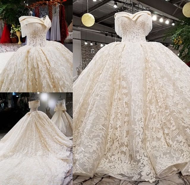Luxury White Princess Cut Out Y Wedding Dress Beading Sequined Fashion High End Bridal Gown 2018 Vestido De Noiva Cathedral In Dresses From
