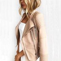 2018 New Hot Women Suede Spliced PU Faux Leather Jackets Lady Autumn Winter Black Matte Motorcycle