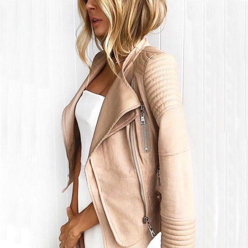2018 New Hot Women Suede Spliced PU Faux Leather Jackets Lady Autumn Winter Black Matte Motorcycle Zippers Coats Streetwear
