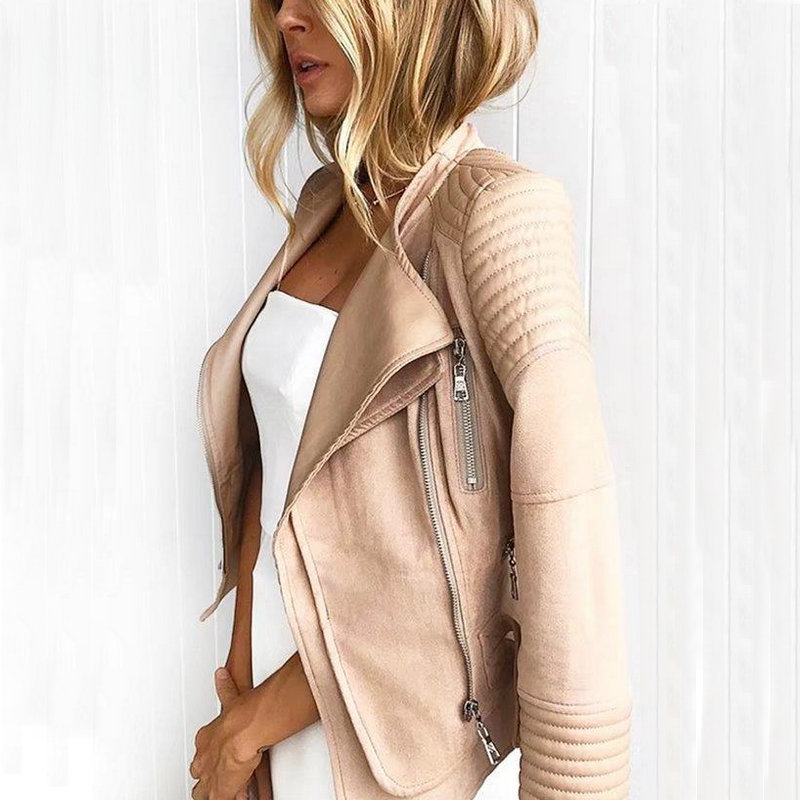 2018 New Hot Women   Suede   Spliced PU Faux   Leather   Jackets Lady Autumn Winter Black Matte Motorcycle Zippers Coats Streetwear