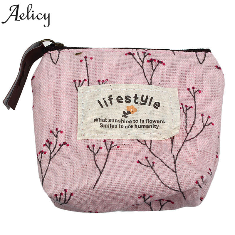 Aelicy Small Canvas Wallet Pouch Purse Little-Money-Bag Coin-Change Retro Candy-Color