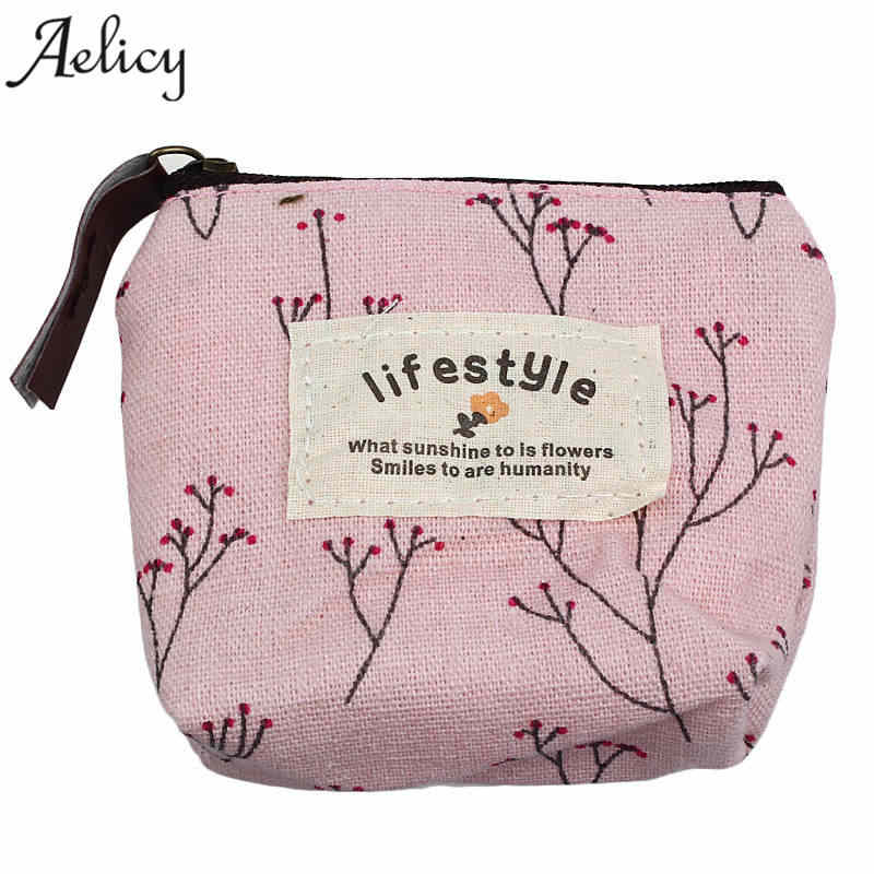 Aelicy New Small Canvas Purse Zip Candy Color Retro Mini Coin Change Purse Key Car Pouch Little Money Bag Lady Mini Coin Wallet