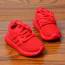 Children casual Fashion Kids Boys Girls Shoes Sport Running net Shoes red&black Baby Shoes 21-30 for 1-6year