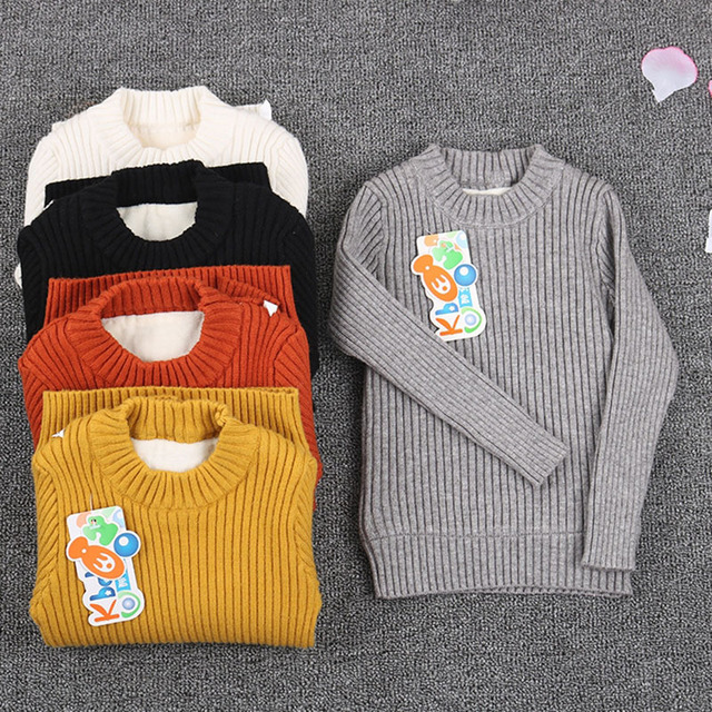 b14f4661617e toddler ribbed sweater fur inside 2018 boy newborn baby knitted ...