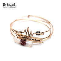 Artilady 3pcs Set Raw Crystal Cuff Bangle Antic Gold With Follow Your Heart Letters Arrow Bangle