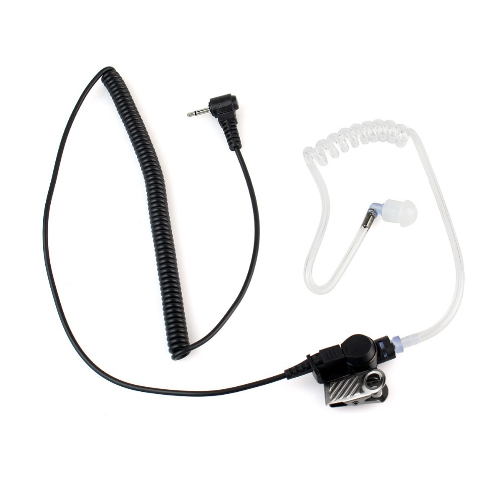2.5mm 1Pin Listen Only Acoustic Tube Earpiece Coiled Cord For Radio Speaker Mic C2142A