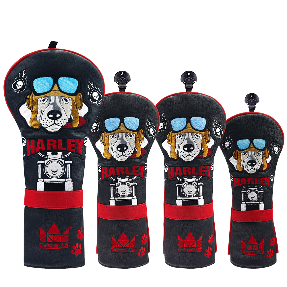 Golf Black-Red Leather Cover Harley Embroidery Dr Fairway Rescue Headcover Driver / Fairway / Hybrid FREE SHIPPING